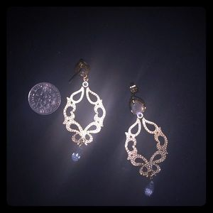 Dangle earrings with moonstone accents